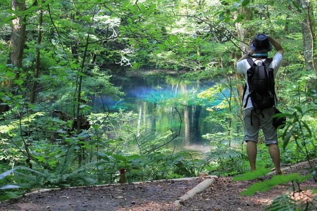 沸壺の池も、きれいな青@十二湖