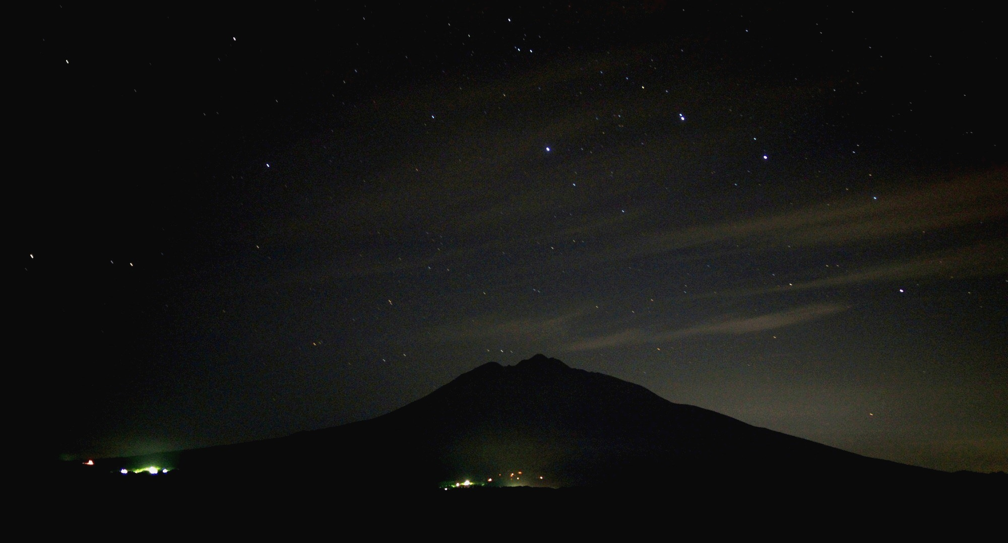 青森 風景 夏 津軽 弘前市 天体観測 高台 ロマントピア 光 星夜 岩木山