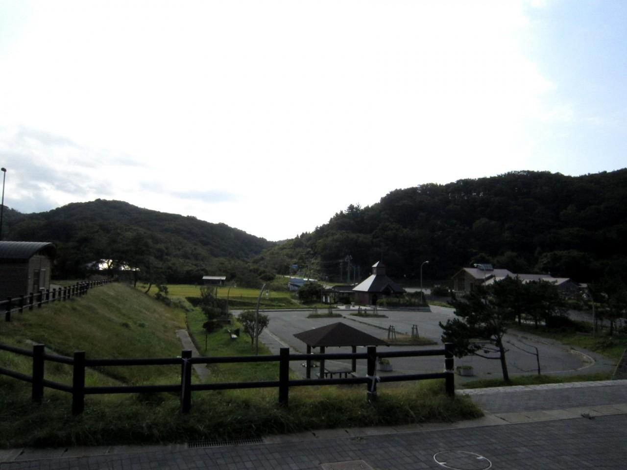 青森 風景 秋 津軽 中泊町 道の駅こどまり 駐車場