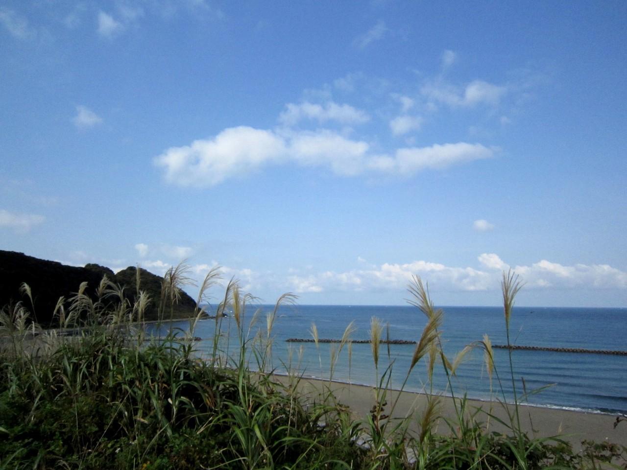 青森 風景 秋 津軽 中泊町 道の駅こどまり 展望広場 海 浜辺