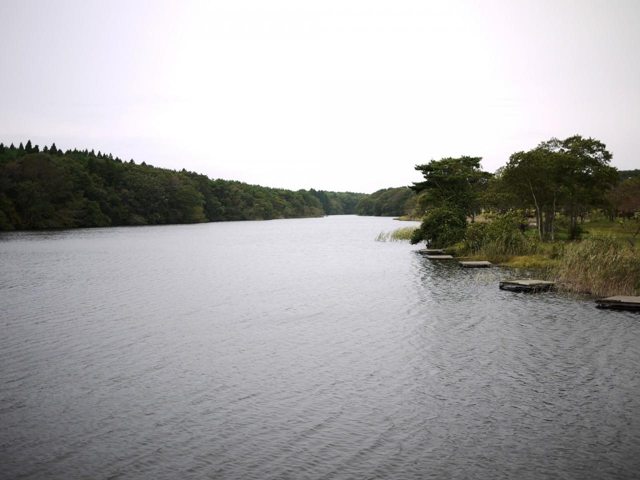 青森 風景 冬 上北 三沢市 五川目堤 釣りスポット 湖 岸部