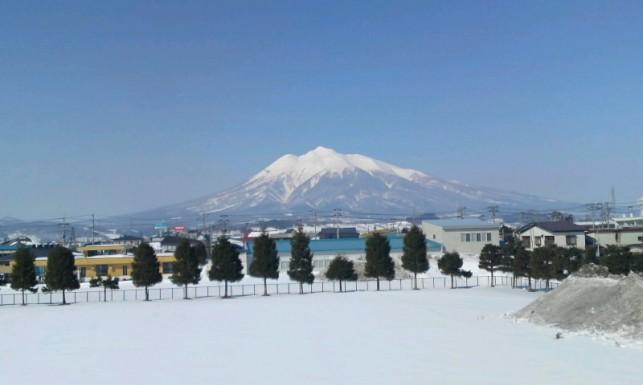 岩木高校から見た岩木山