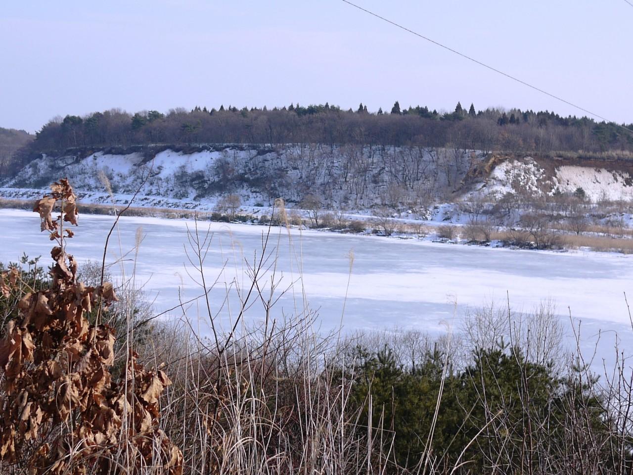 青森 上北 東北町 風景 冬 姉沼 氷 雪 湖