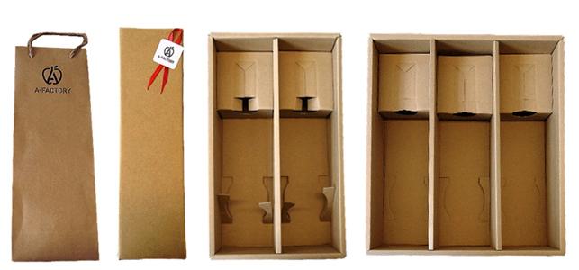 シードル用包装紙(左から手提げ袋、ギフトボックス<1本入り><2本入り><3本入り>)